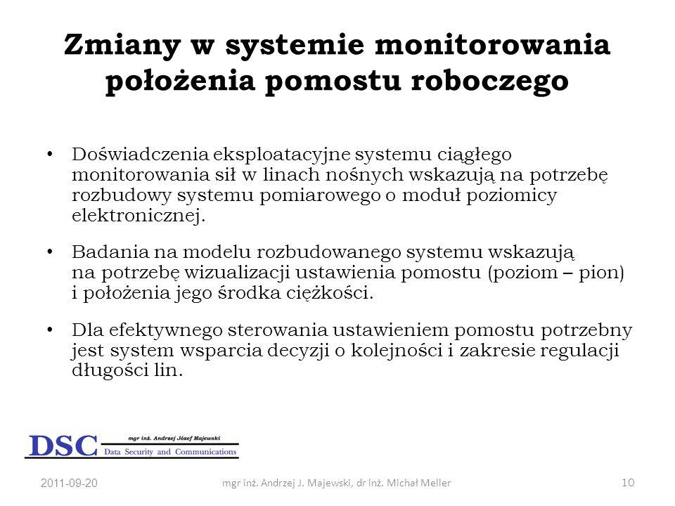 2011-09-20mgr inż. Andrzej J. Majewski, dr inż. Michał Meller10 Zmiany w systemie monitorowania położenia pomostu roboczego Doświadczenia eksploatacyj