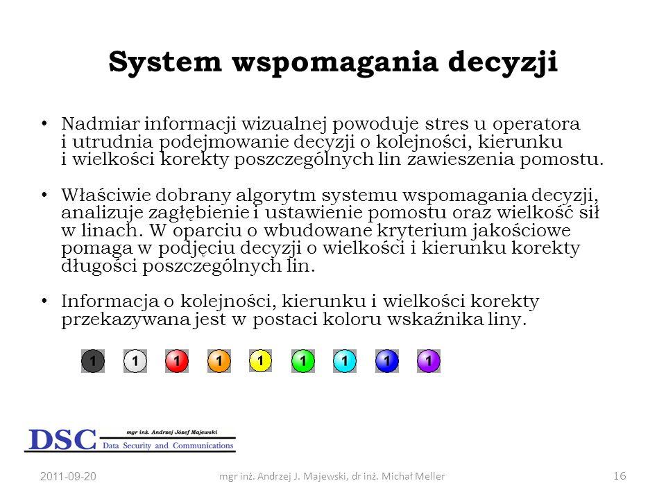 2011-09-20mgr inż. Andrzej J. Majewski, dr inż. Michał Meller16 System wspomagania decyzji Nadmiar informacji wizualnej powoduje stres u operatora i u