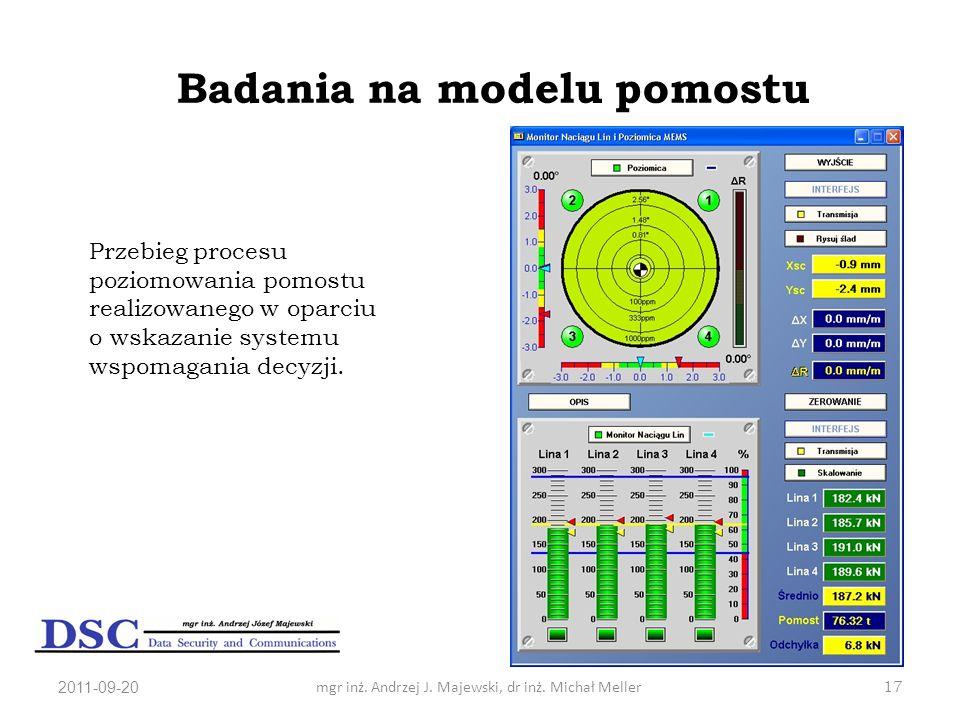 2011-09-20mgr inż. Andrzej J. Majewski, dr inż. Michał Meller17 Badania na modelu pomostu Przebieg procesu poziomowania pomostu realizowanego w oparci
