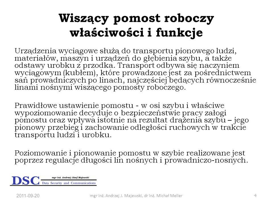 2011-09-20mgr inż. Andrzej J. Majewski, dr inż. Michał Meller4 Wiszący pomost roboczy właściwości i funkcje Urządzenia wyciągowe służą do transportu p