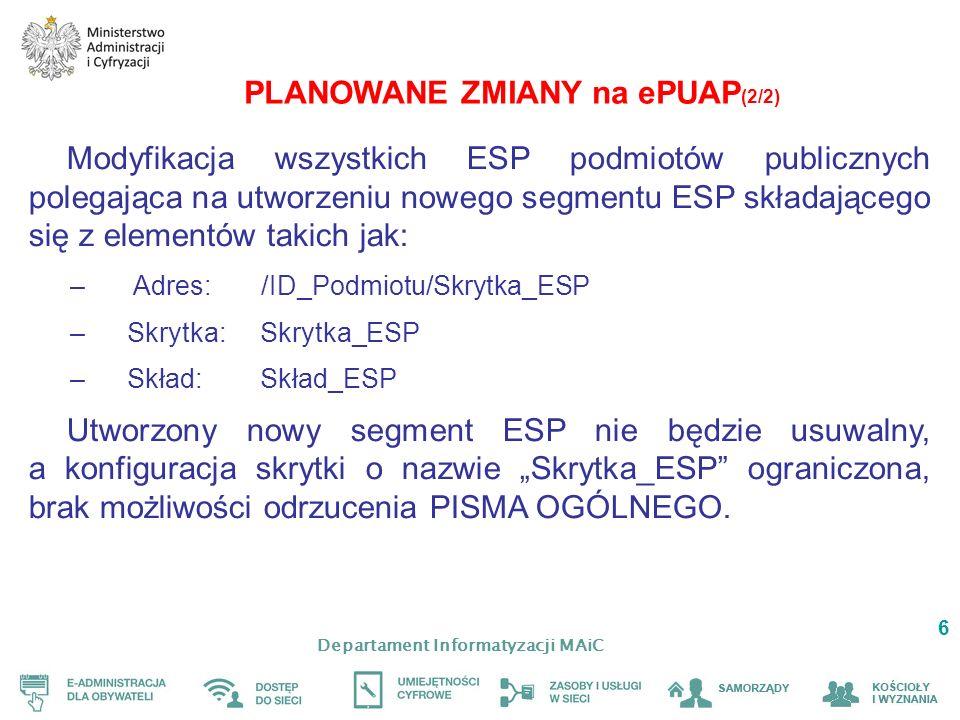 Departament Informatyzacji MAiC 6 PLANOWANE ZMIANY na ePUAP (2/2) Modyfikacja wszystkich ESP podmiotów publicznych polegająca na utworzeniu nowego segmentu ESP składającego się z elementów takich jak: – Adres: /ID_Podmiotu/Skrytka_ESP –Skrytka: Skrytka_ESP –Skład: Skład_ESP Utworzony nowy segment ESP nie będzie usuwalny, a konfiguracja skrytki o nazwie Skrytka_ESP ograniczona, brak możliwości odrzucenia PISMA OGÓLNEGO.
