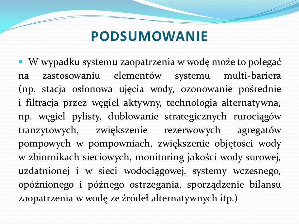 W wypadku systemu zaopatrzenia w wodę może to polegać na zastosowaniu elementów systemu multi-bariera (np. stacja osłonowa ujęcia wody, ozonowanie poś