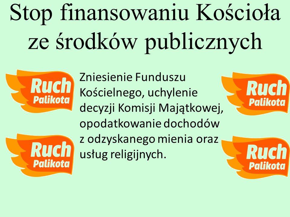Zniesienie Funduszu Kościelnego, uchylenie decyzji Komisji Majątkowej, opodatkowanie dochodów z odzyskanego mienia oraz usług religijnych. Stop finans