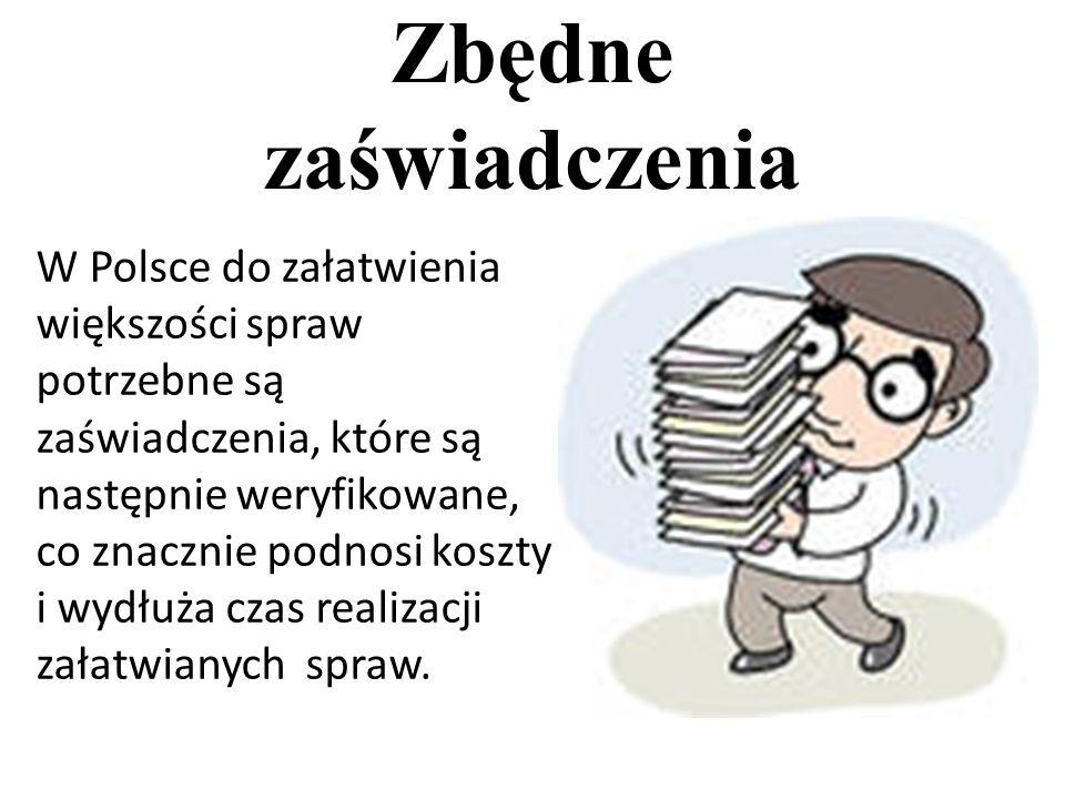 Zbędne zaświadczenia W Polsce do załatwienia większości spraw potrzebne są zaświadczenia, które są następnie weryfikowane, co znacznie podnosi koszty