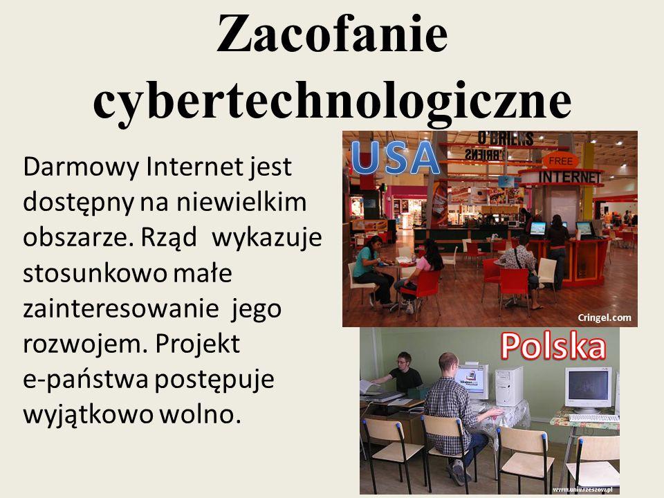 Zacofanie cybertechnologiczne Darmowy Internet jest dostępny na niewielkim obszarze. Rząd wykazuje stosunkowo małe zainteresowanie jego rozwojem. Proj