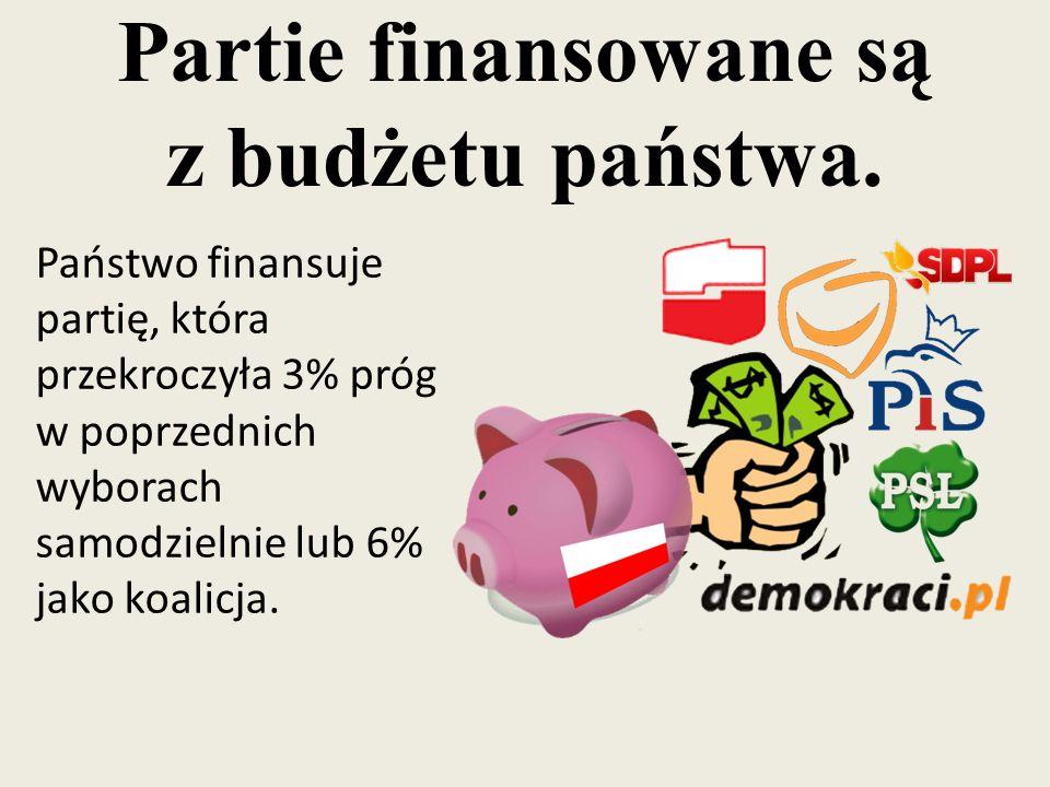Partie finansowane są z budżetu państwa. Państwo finansuje partię, która przekroczyła 3% próg w poprzednich wyborach samodzielnie lub 6% jako koalicja