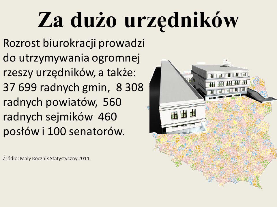 Rozrost biurokracji prowadzi do utrzymywania ogromnej rzeszy urzędników, a także: 37 699 radnych gmin, 8 308 radnych powiatów, 560 radnych sejmików 460 posłów i 100 senatorów.