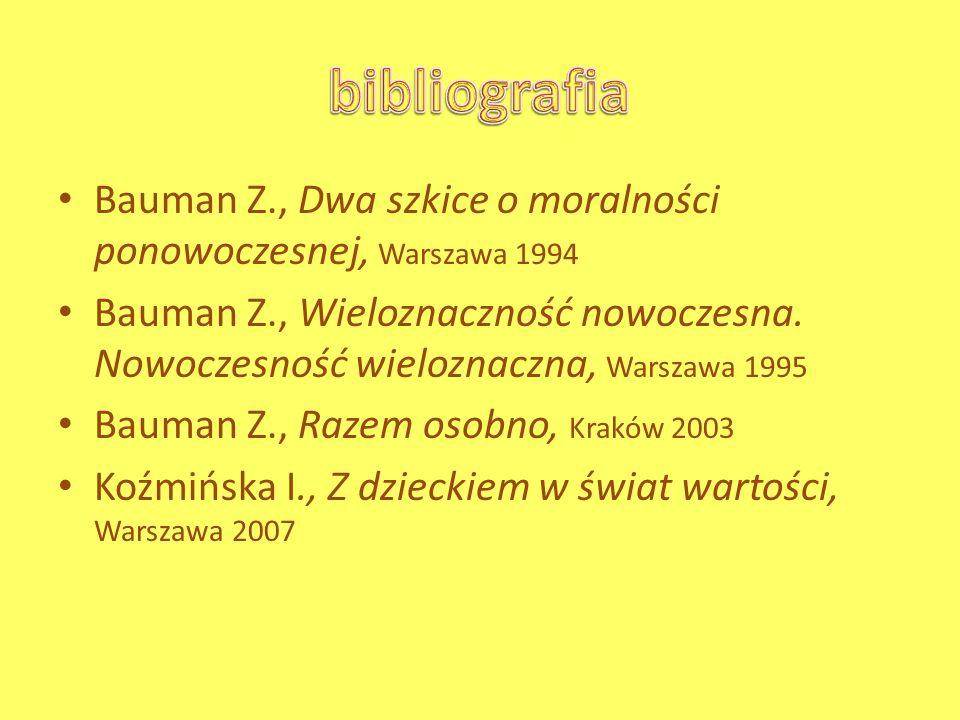 Bauman Z., Dwa szkice o moralności ponowoczesnej, Warszawa 1994 Bauman Z., Wieloznaczność nowoczesna. Nowoczesność wieloznaczna, Warszawa 1995 Bauman