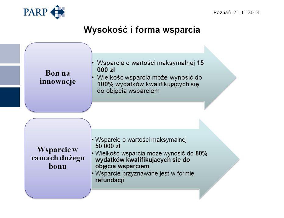 Poznań, 21.11.2013 Wysokość i forma wsparcia Wsparcie o wartości maksymalnej 15 000 zł Wielkość wsparcia może wynosić do 100% wydatków kwalifikujących się do objęcia wsparciem Bon na innowacje Wsparcie o wartości maksymalnej 50 000 zł Wielkość wsparcia może wynosić do 80% wydatków kwalifikujących się do objęcia wsparciem Wsparcie przyznawane jest w formie refundacji Wsparcie w ramach dużego bonu