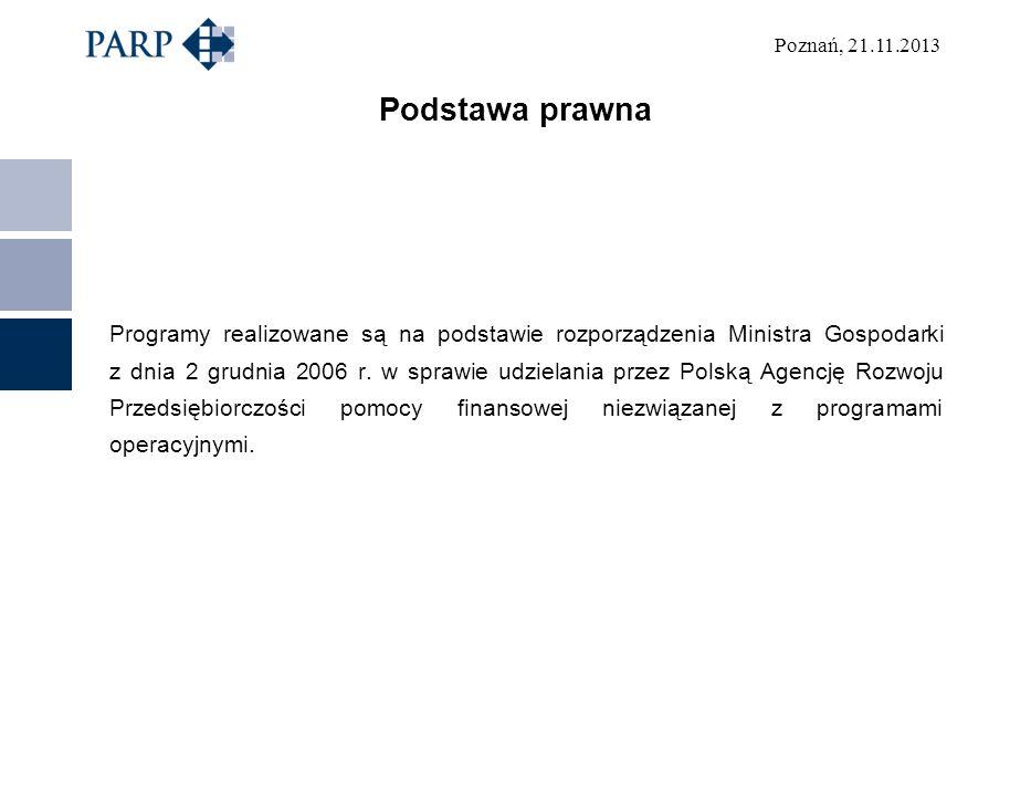 Poznań, 21.11.2013 Podstawa prawna Programy realizowane są na podstawie rozporządzenia Ministra Gospodarki z dnia 2 grudnia 2006 r. w sprawie udzielan