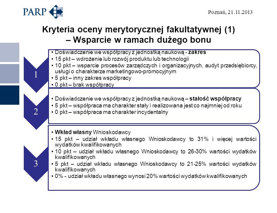 Poznań, 21.11.2013 Kryteria oceny merytorycznej fakultatywnej (1) – Wsparcie w ramach dużego bonu 1 Doświadczenie we współpracy z jednostką naukową -