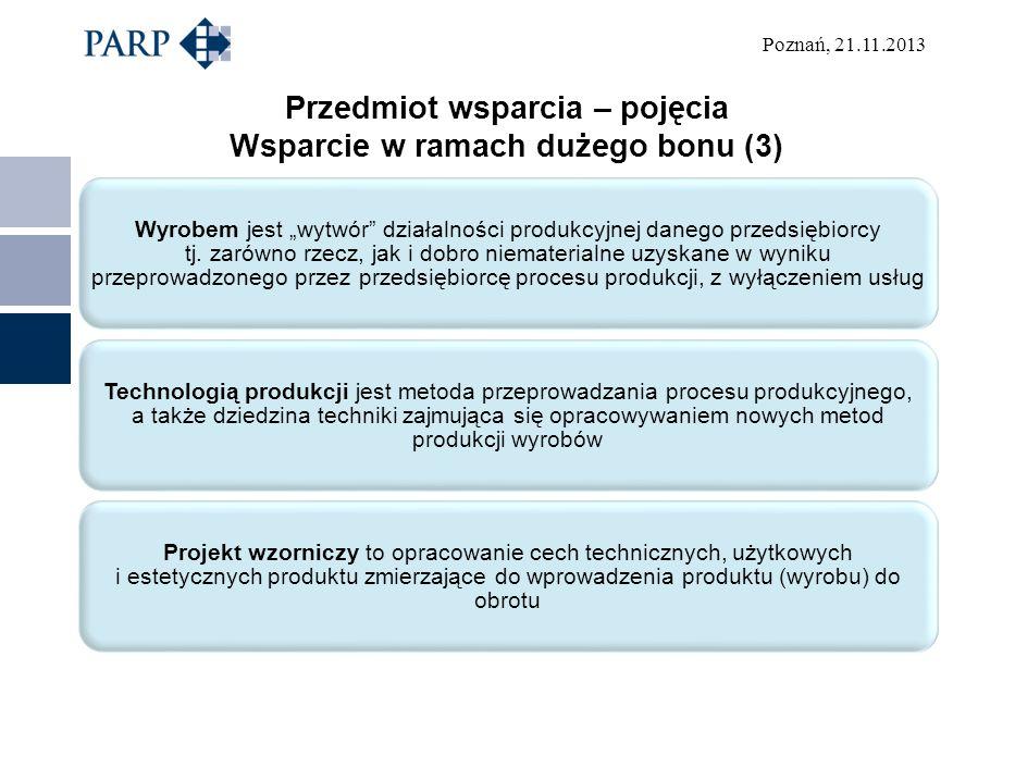 Poznań, 21.11.2013 Przedmiot wsparcia – pojęcia Wsparcie w ramach dużego bonu (3) Wyrobem jest wytwór działalności produkcyjnej danego przedsiębiorcy tj.