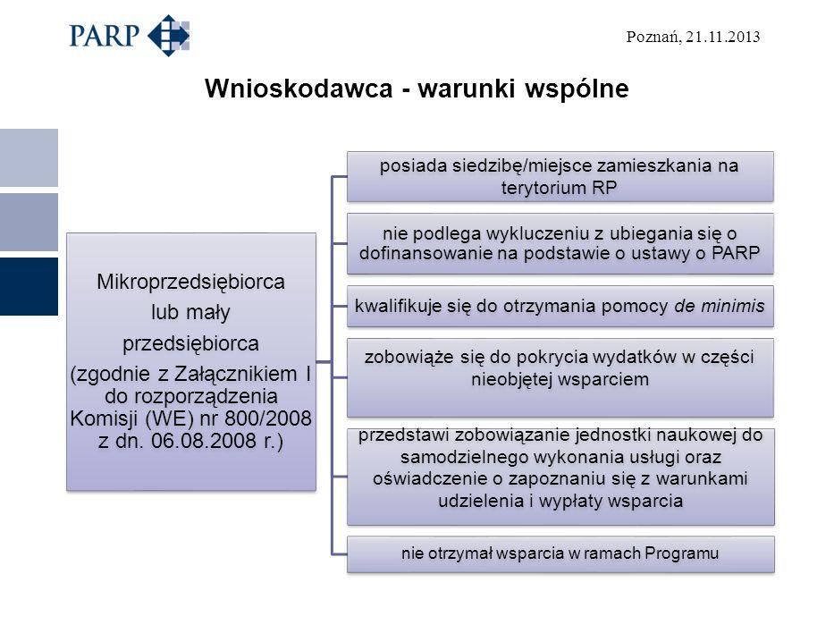 Poznań, 21.11.2013 Wnioskodawca - warunki wspólne Mikroprzedsiębiorca lub mały przedsiębiorca (zgodnie z Załącznikiem I do rozporządzenia Komisji (WE)