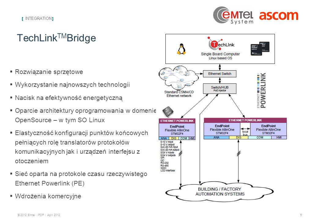 [ INTEGRATION ] 5 © 2012 Emtel | PDP | April 2012 Rozwiązanie sprzętowe Wykorzystanie najnowszych technologii Nacisk na efektywność energetyczną Oparcie architektury oprogramowania w domenie OpenSource – w tym SO Linux Elastyczność konfiguracji punktów końcowych pełniących rolę translatorów protokołów komunikacyjnych jak i urządzeń interfejsu z otoczeniem Sieć oparta na protokole czasu rzeczywistego Ethernet Powerlink (PE) Wdrożenia komercyjne TechLink TM Bridge