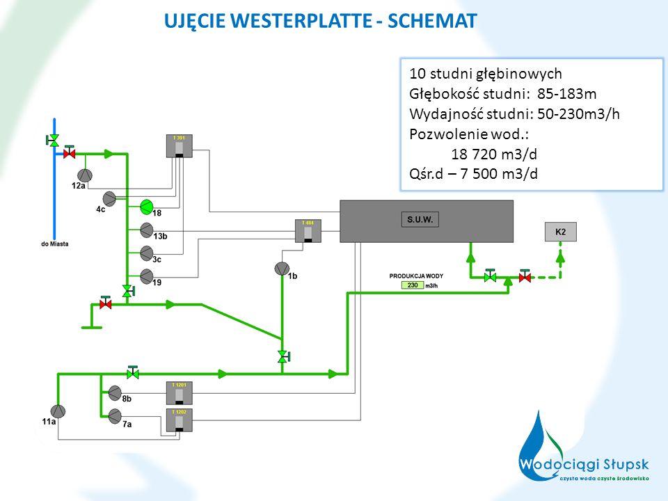UJĘCIE WESTERPLATTE - SCHEMAT 10 studni głębinowych Głębokość studni: 85-183m Wydajność studni: 50-230m3/h Pozwolenie wod.: 18 720 m3/d Qśr.d – 7 500