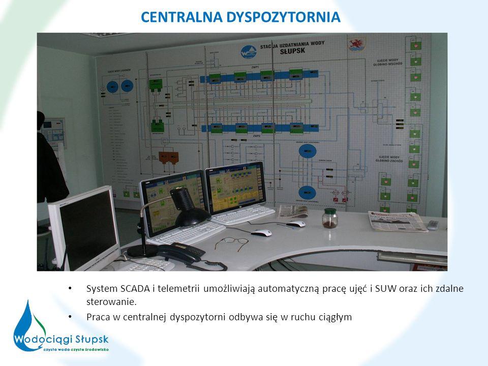 CENTRALNA DYSPOZYTORNIA System SCADA i telemetrii umożliwiają automatyczną pracę ujęć i SUW oraz ich zdalne sterowanie. Praca w centralnej dyspozytorn