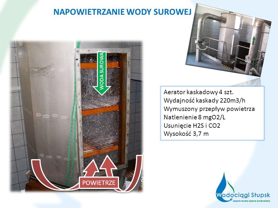 NAPOWIETRZANIE WODY SUROWEJ WODA SUROWA POWIETRZE Aerator kaskadowy 4 szt. Wydajność kaskady 220m3/h Wymuszony przepływ powietrza Natlenienie 8 mgO2/L