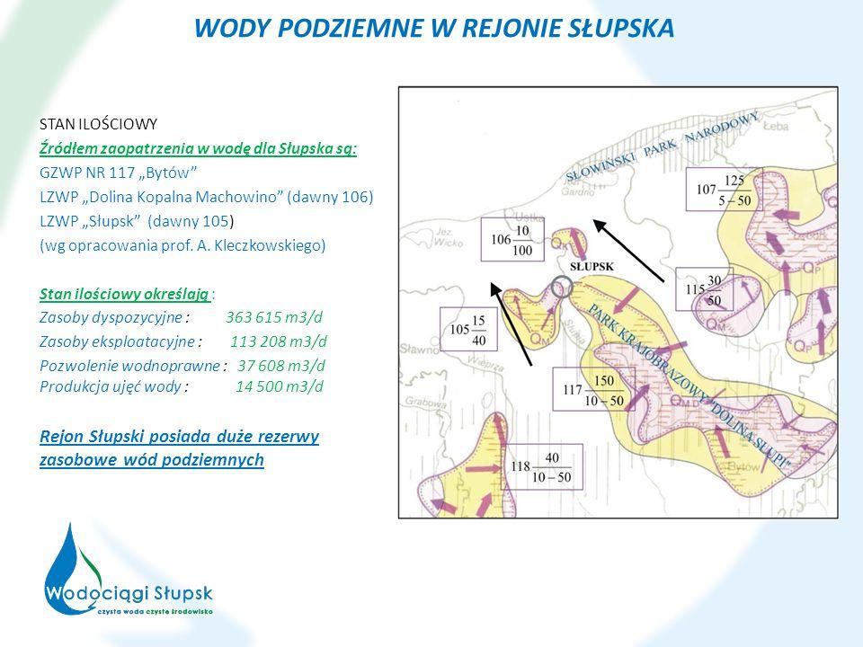 WODY PODZIEMNE W REJONIE SŁUPSKA STAN ILOŚCIOWY Źródłem zaopatrzenia w wodę dla Słupska są: GZWP NR 117 Bytów LZWP Dolina Kopalna Machowino (dawny 106