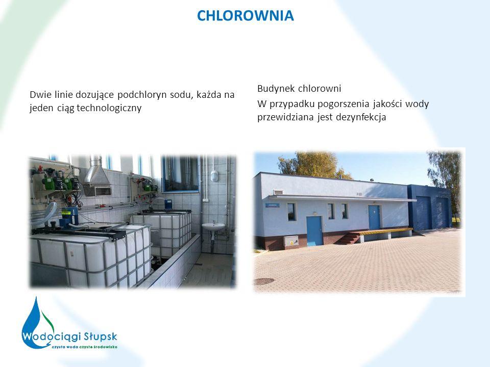 CHLOROWNIA Dwie linie dozujące podchloryn sodu, każda na jeden ciąg technologiczny Budynek chlorowni W przypadku pogorszenia jakości wody przewidziana