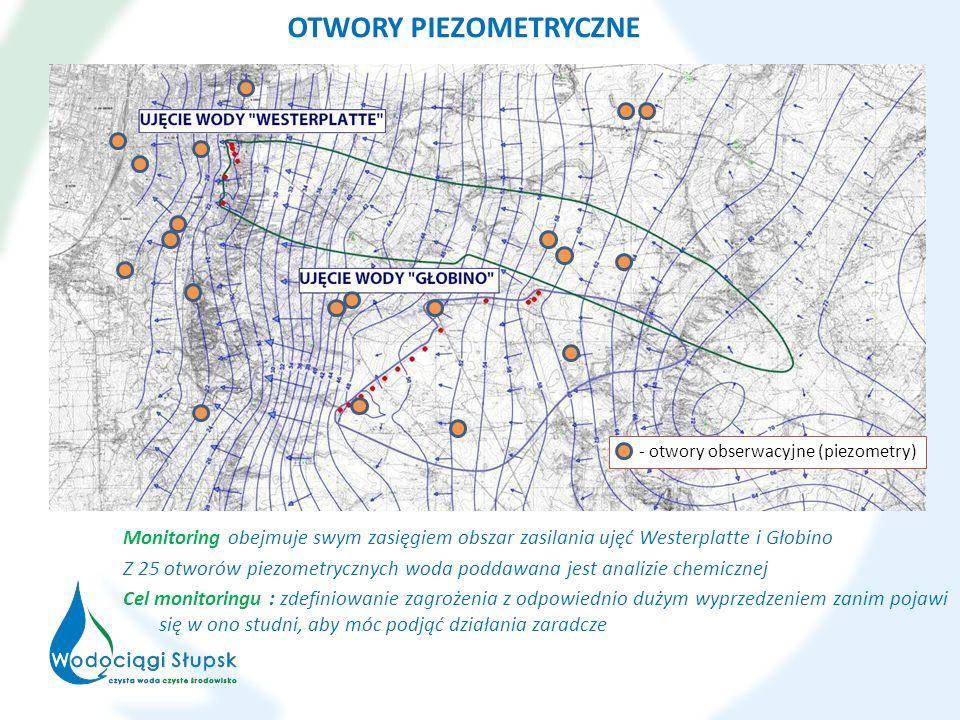 Monitoring obejmuje swym zasięgiem obszar zasilania ujęć Westerplatte i Głobino Z 25 otworów piezometrycznych woda poddawana jest analizie chemicznej