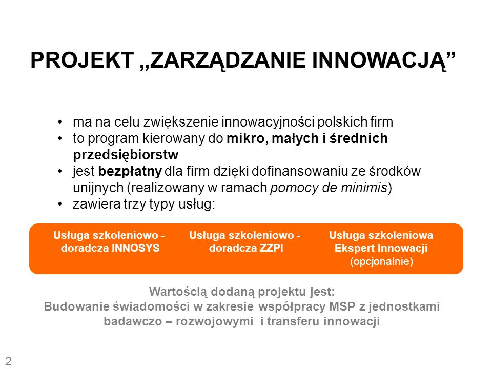 ma na celu zwiększenie innowacyjności polskich firm to program kierowany do mikro, małych i średnich przedsiębiorstw jest bezpłatny dla firm dzięki do