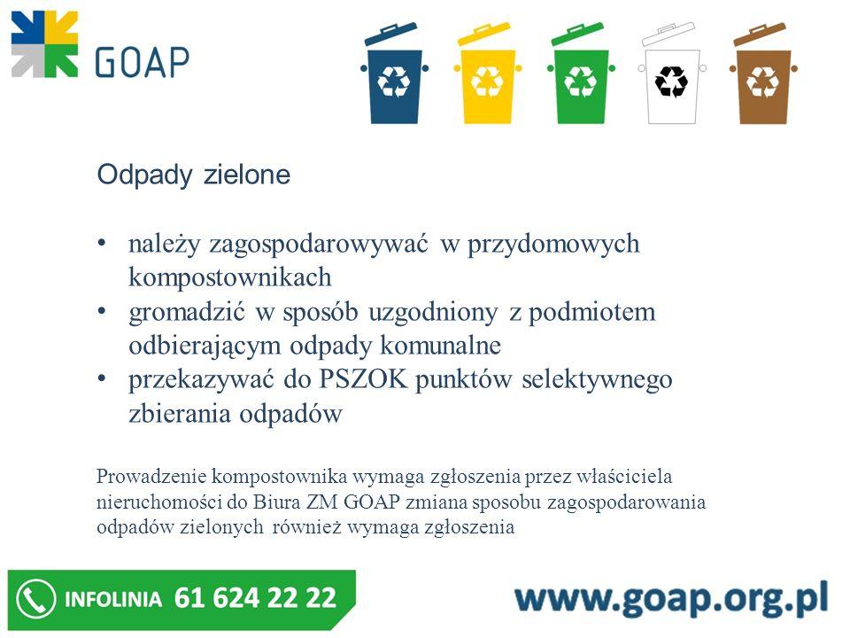 Odpady zielone należy zagospodarowywać w przydomowych kompostownikach gromadzić w sposób uzgodniony z podmiotem odbierającym odpady komunalne przekazy