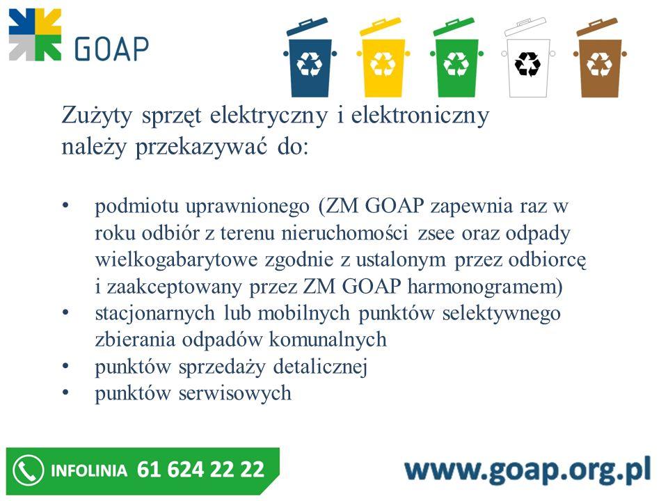 Zużyty sprzęt elektryczny i elektroniczny należy przekazywać do: podmiotu uprawnionego (ZM GOAP zapewnia raz w roku odbiór z terenu nieruchomości zsee