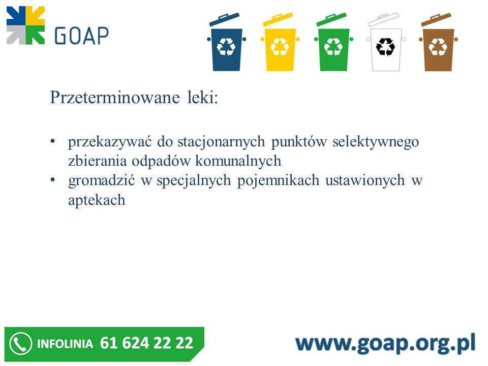 Przeterminowane leki: przekazywać do stacjonarnych punktów selektywnego zbierania odpadów komunalnych gromadzić w specjalnych pojemnikach ustawionych