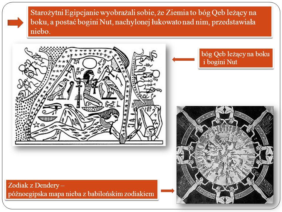Starożytni Egipcjanie wyobrażali sobie, że Ziemia to bóg Qeb leżący na boku, a postać bogini Nut, nachylonej łukowato nad nim, przedstawiała niebo. bó