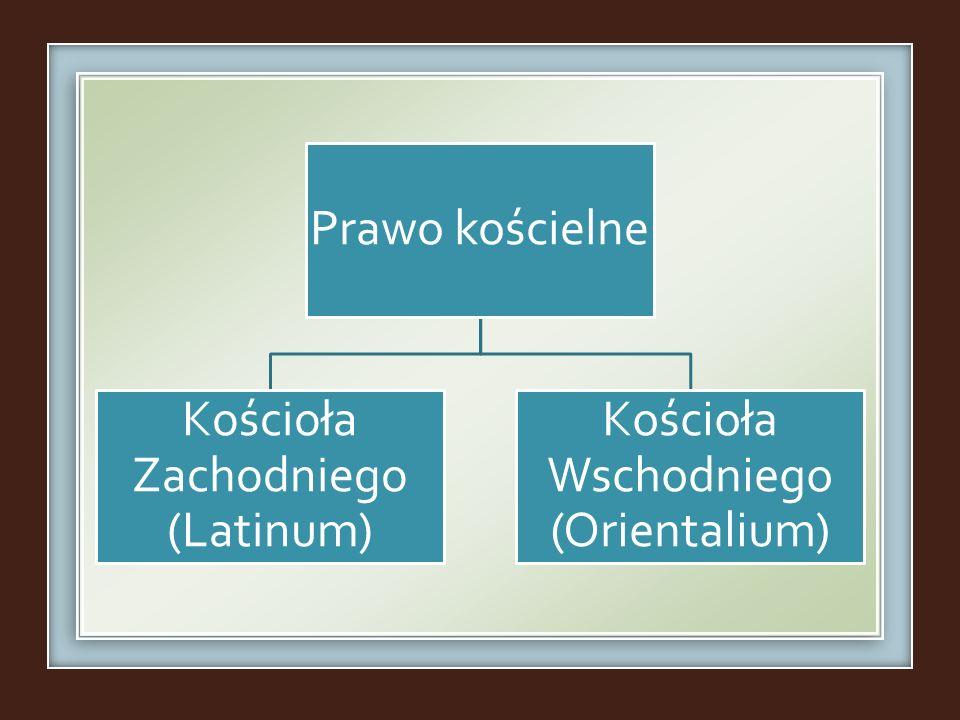 Prawo kościelne Kościoła Zachodniego (Latinum) Kościoła Wschodniego (Orientalium)
