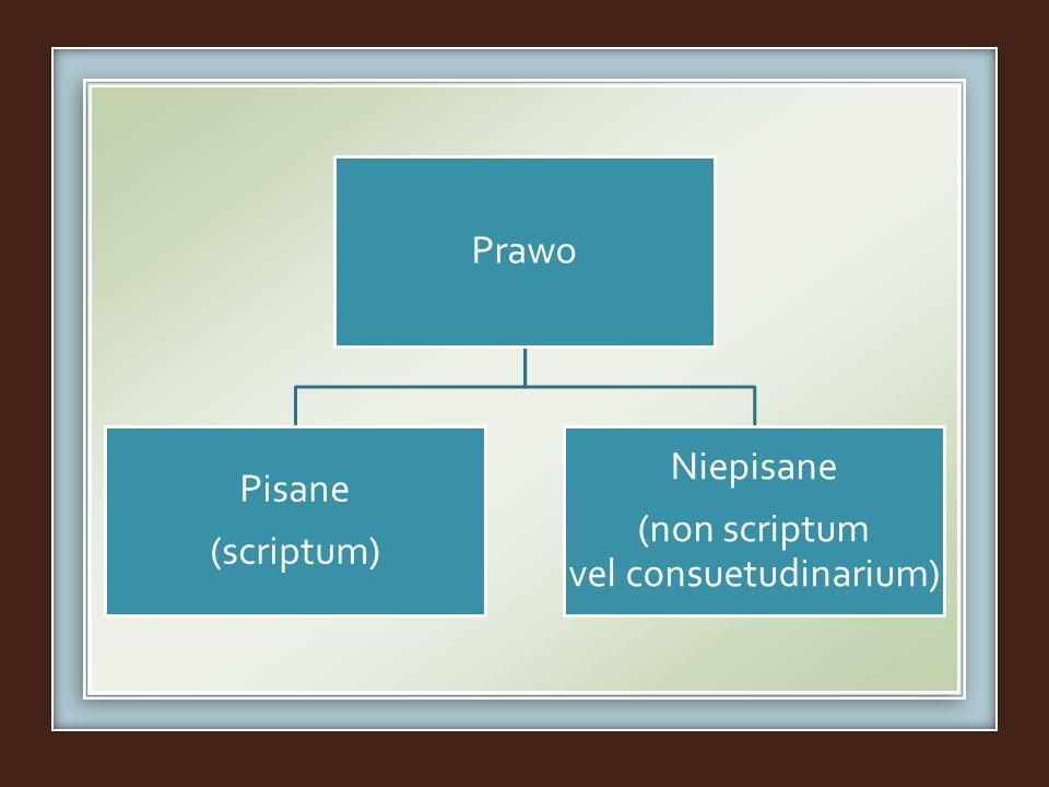 Prawo Pisane (scriptum) Niepisane (non scriptum vel consuetudinarium)