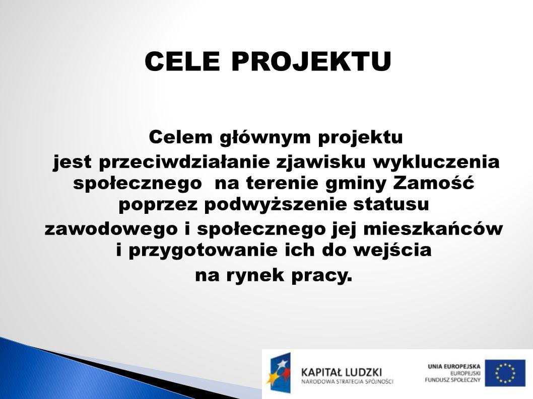 CELE PROJEKTU Celem głównym projektu jest przeciwdziałanie zjawisku wykluczenia społecznego na terenie gminy Zamość poprzez podwyższenie statusu zawod