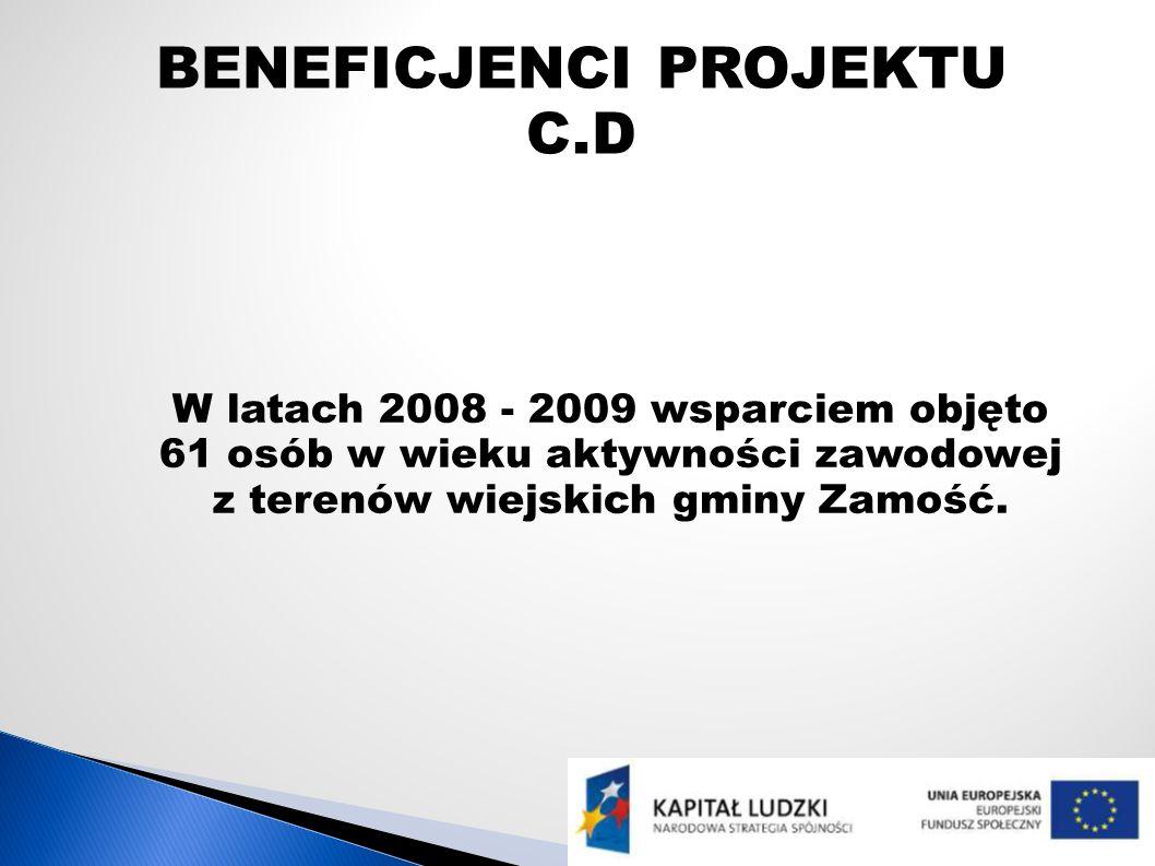 BENEFICJENCI PROJEKTU C.D W latach 2008 - 2009 wsparciem objęto 61 osób w wieku aktywności zawodowej z terenów wiejskich gminy Zamość.