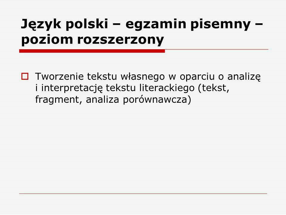 Język polski – egzamin pisemny – poziom rozszerzony Tworzenie tekstu własnego w oparciu o analizę i interpretację tekstu literackiego (tekst, fragment, analiza porównawcza)