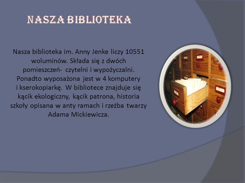 Nasza biblioteka im. Anny Jenke liczy 10551 woluminów. Składa się z dwóch pomieszczeń- czytelni i wypożyczalni. Ponadto wyposażona jest w 4 komputery