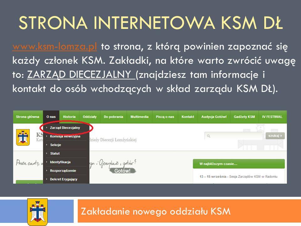 STRONA INTERNETOWA KSM DŁ Zakładanie nowego oddziału KSM www.ksm-lomza.plwww.ksm-lomza.pl to strona, z którą powinien zapoznać się każdy członek KSM.