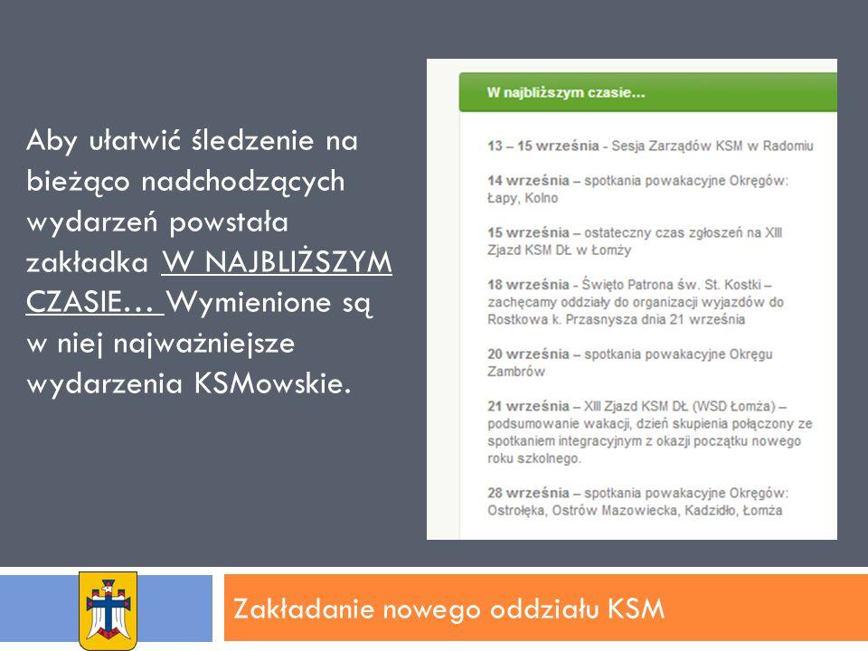 Zakładanie nowego oddziału KSM Aby ułatwić śledzenie na bieżąco nadchodzących wydarzeń powstała zakładka W NAJBLIŻSZYM CZASIE… Wymienione są w niej najważniejsze wydarzenia KSMowskie.