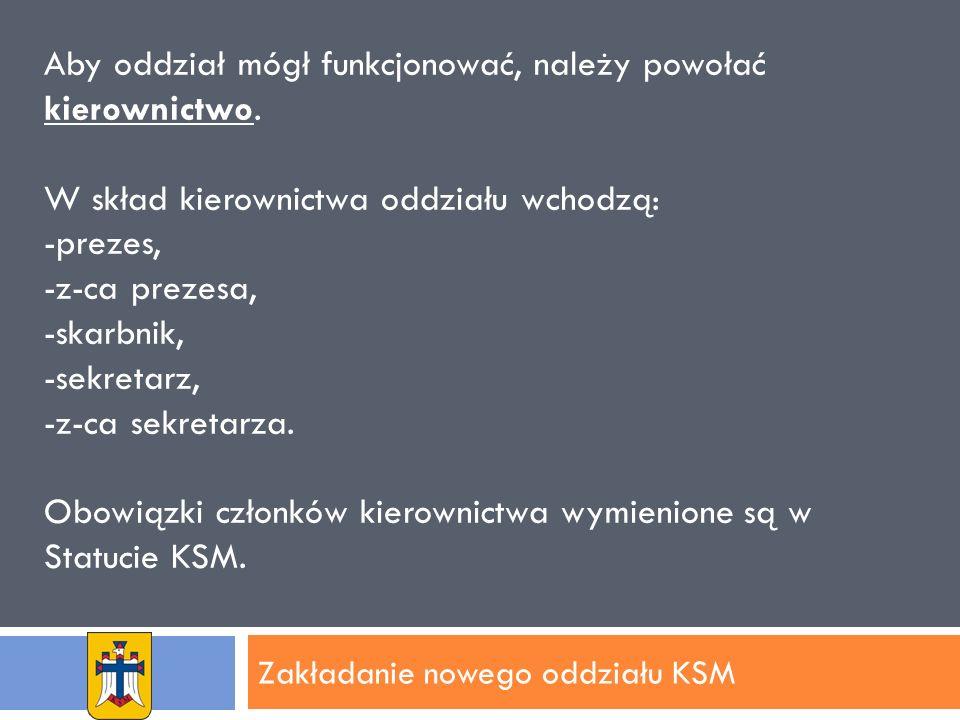 Zakładanie nowego oddziału KSM Aby oddział mógł funkcjonować, należy powołać kierownictwo.