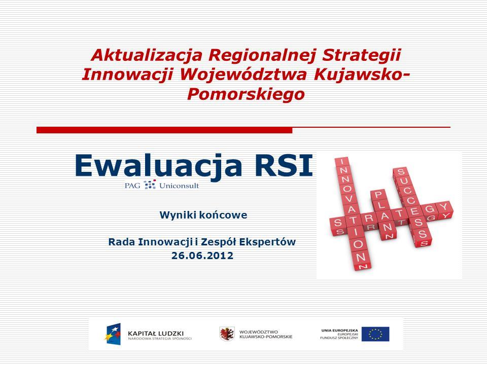Aktualizacja Regionalnej Strategii Innowacji Województwa Kujawsko- Pomorskiego Ewaluacja RSI Wyniki końcowe Rada Innowacji i Zespół Ekspertów 26.06.2012
