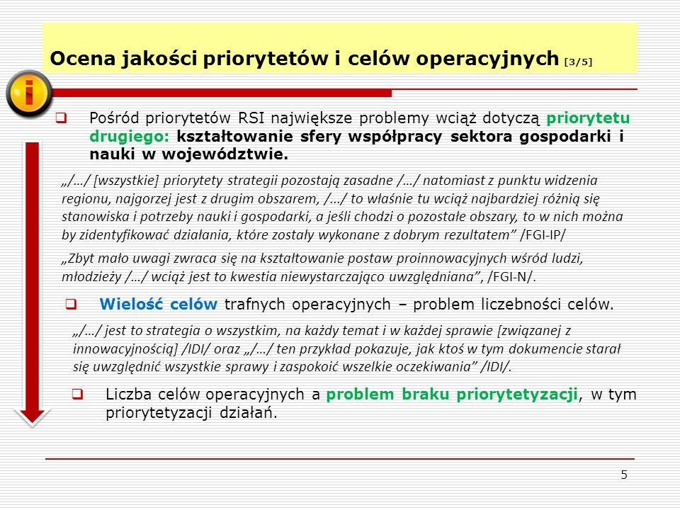 Ocena jakości priorytetów i celów operacyjnych [3/5] 5 Pośród priorytetów RSI największe problemy wciąż dotyczą priorytetu drugiego: kształtowanie sfery współpracy sektora gospodarki i nauki w województwie.