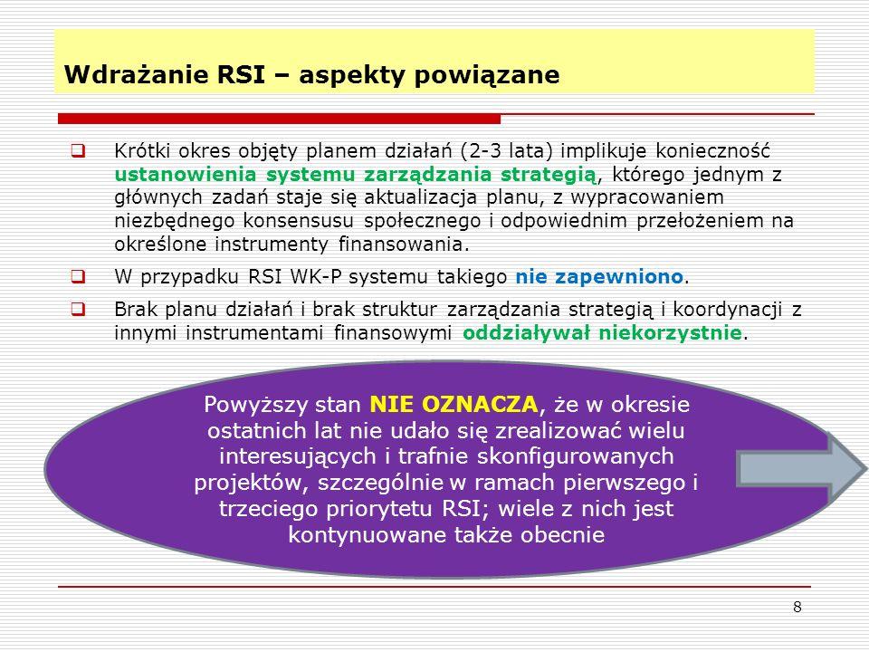 Wdrażanie RSI – aspekty powiązane 8 Krótki okres objęty planem działań (2-3 lata) implikuje konieczność ustanowienia systemu zarządzania strategią, którego jednym z głównych zadań staje się aktualizacja planu, z wypracowaniem niezbędnego konsensusu społecznego i odpowiednim przełożeniem na określone instrumenty finansowania.
