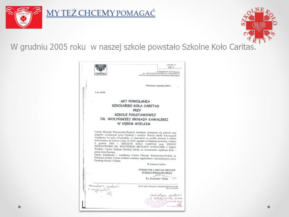 W grudniu 2005 roku w naszej szkole powstało Szkolne Koło Caritas.