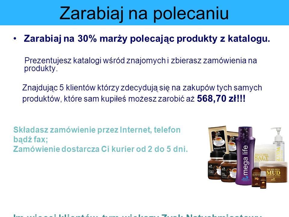 Zarabiaj na polecaniu Zarabiaj na 30% marży polecając produkty z katalogu. Prezentujesz katalogi wśród znajomych i zbierasz zamówienia na produkty. Zn