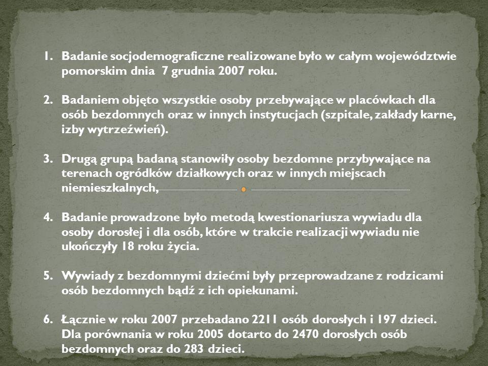 1.Badanie socjodemograficzne realizowane było w całym województwie pomorskim dnia 7 grudnia 2007 roku. 2.Badaniem objęto wszystkie osoby przebywające