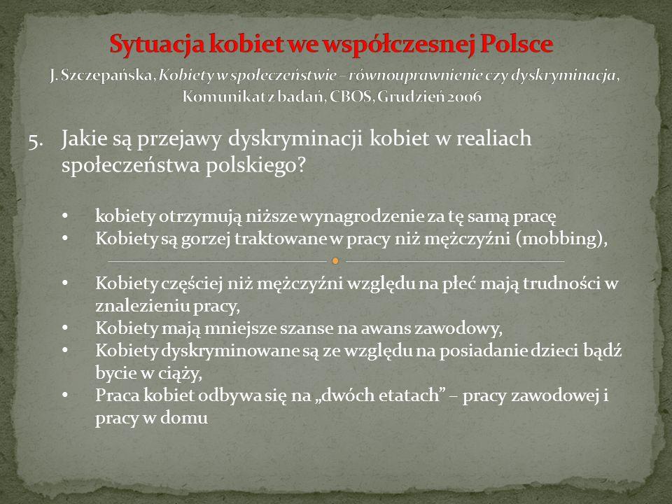 5.Jakie są przejawy dyskryminacji kobiet w realiach społeczeństwa polskiego? kobiety otrzymują niższe wynagrodzenie za tę samą pracę Kobiety są gorzej