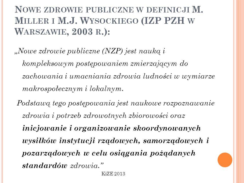 N OWE ZDROWIE PUBLICZNE W DEFINICJI M. M ILLER I M.J. W YSOCKIEGO (IZP PZH W W ARSZAWIE, 2003 R.): Nowe zdrowie publiczne (NZP) jest nauką i komplekso