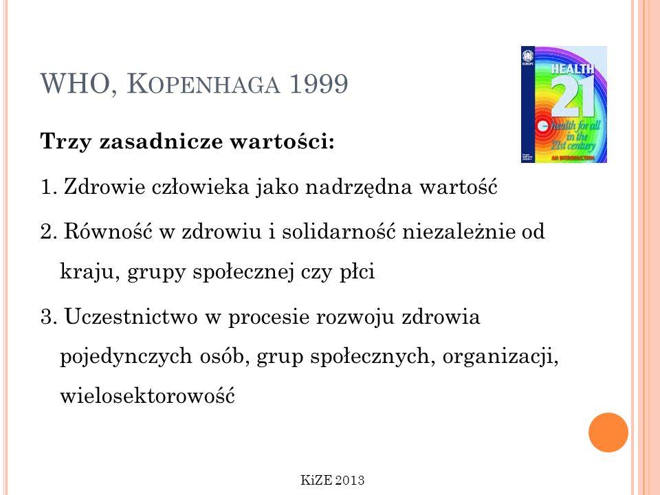 WHO, K OPENHAGA 1999 Trzy zasadnicze wartości: 1. Zdrowie człowieka jako nadrzędna wartość 2. Równość w zdrowiu i solidarność niezależnie od kraju, gr