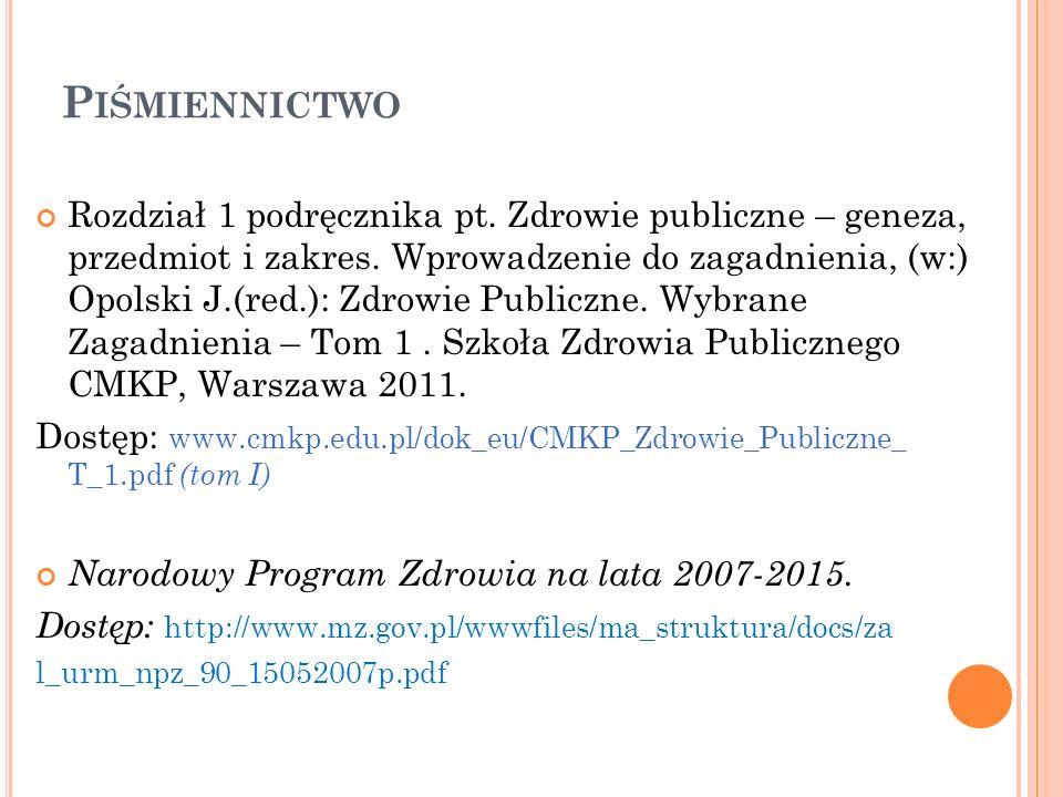 P IŚMIENNICTWO Rozdział 1 podręcznika pt. Zdrowie publiczne – geneza, przedmiot i zakres. Wprowadzenie do zagadnienia, (w:) Opolski J.(red.): Zdrowie