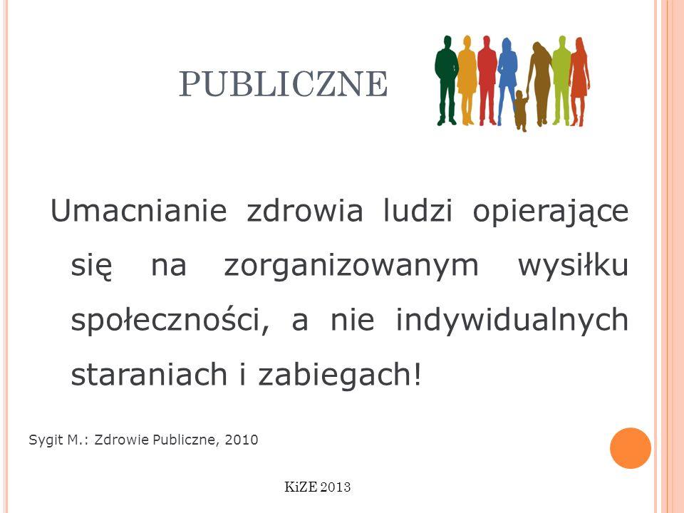 PUBLICZNE Umacnianie zdrowia ludzi opierające się na zorganizowanym wysiłku społeczności, a nie indywidualnych staraniach i zabiegach! KiZE 2013 Sygit