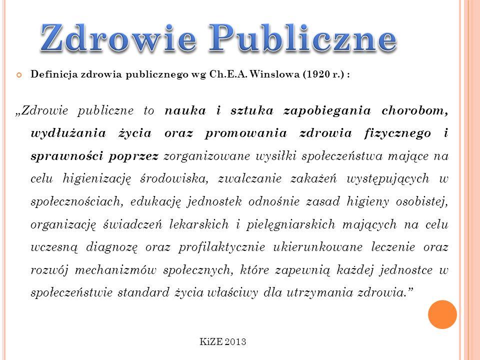 Definicja zdrowia publicznego wg Ch.E.A. Winslowa (1920 r.) : Zdrowie publiczne to nauka i sztuka zapobiegania chorobom, wydłużania życia oraz promowa